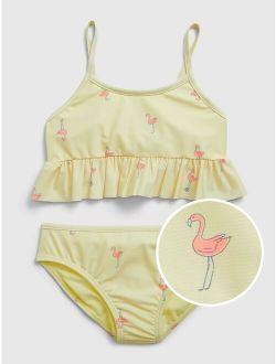 Kids Recycled Flamingo Peplum Bikini Swim Two-Piece