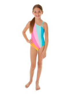 Big Girls 1-Pc. Rainbow One-Shoulder Swim Suit