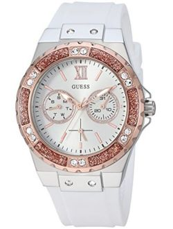 Stainles Steel + Rose Gold-tone White Stain Resistant Silicone Watch With Day + Date Functions. Color: White (model: U1053l2)