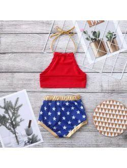 Baby Girl Swimsuit Halter Crop Top and Stars Print Short Bottoms Bikini Set Bathing Suit Swinwear