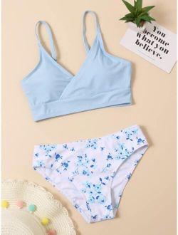 Girls Floral Random Print Bikini Swimsuit