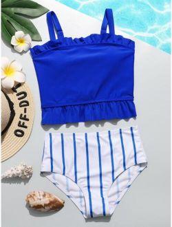 Girls Striped Frill Trim Bikini Swimsuit
