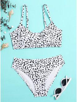 Girls Dalmatian Surplice Neck Bikini Swimsuit