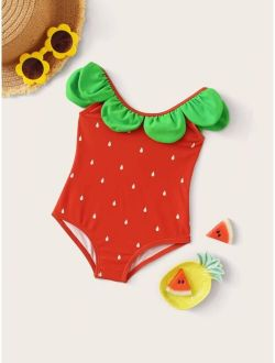 Baby Girls Strawberry Pattern One Piece Swimwear
