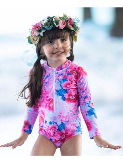 Pink & Purple Floral One-Piece Rashguard - Toddler & Girls