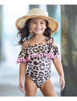 Pink Leopard Ruffle Pom-Pom Off-Shoulder One-Piece - Toddler & Girls