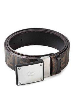 Logo Plaque Buckle Belt Cintura Placca Zucca Havana Brown Reversible New