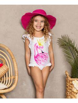White & Gold Polka Dot Flamingo One-Piece - Toddler & Girls