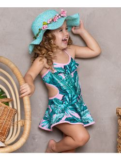 Pink & Green Tropical Leaf Side-Cutout Skirted One-Piece - Toddler & Girls