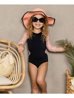 Black & Pink Lace Long-Sleeve One-Piece - Toddler & Girls