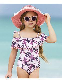 Pink & Black Camo Pom-Pom Ruffle Off-Shoulder One-Piece - Toddler & Girls