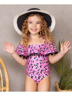 Pink & Black Leopard Pom Pom-Trim Off-Shoulder One-Piece - Toddler & Girls
