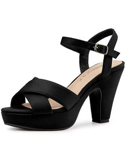 Women's Platform Chunky Heels Slingback Sandals
