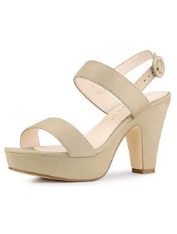 Women's Slingback Platform Chunky Heel Sandals