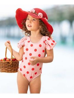 Light Pink Polka Dot Ruffle-Accent One-Piece - Toddler & Girls
