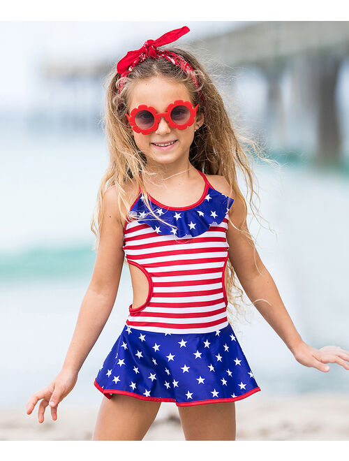 Red & Blue Stars & Stripes Ruffle Skirted One-Piece - Toddler & Girls