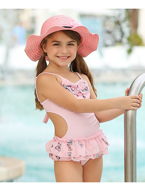 Pink Butterfly Skirted One-Piece & Cover-Up - Girls