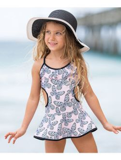 Pink & White Butterfly Side-Cutout Skirted One-Piece - Toddler & Girls