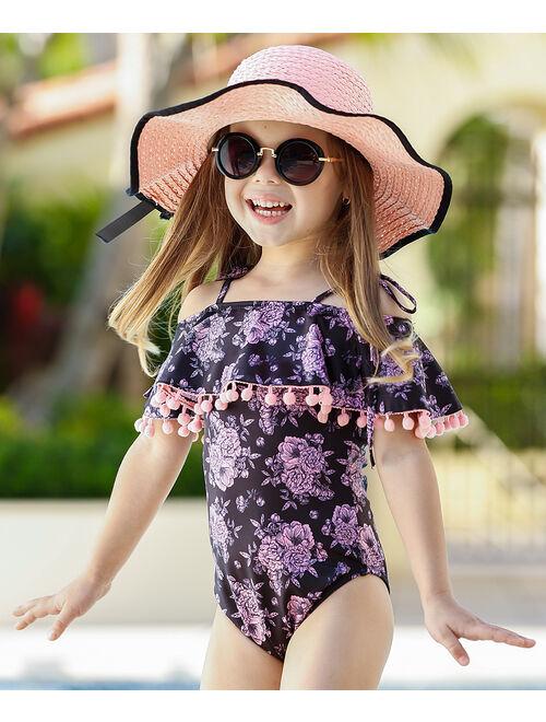 Black & Pink Floral Ruffle Pom-Pom Trim One-Piece - Toddler & Girls