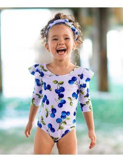 White Blueberry Ruffle-Accent One-Piece Rashguard - Toddler & Girls