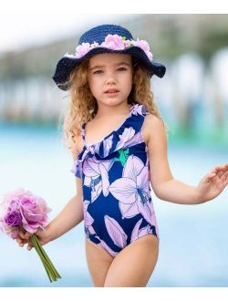Navy & Pink Floral Ruffle Off-Shoulder One-Piece - Toddler & Girls