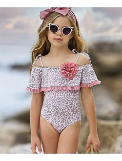 Dusty Pink & Gray Leopard Flower Ruffle One-Piece - Toddler & Girls