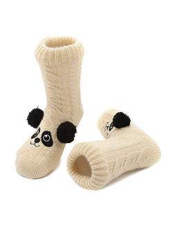 Boys Girls Cozy Fuzzy Slipper Socks Fleece Lining Extra Warm Fuzzy Socks For Kids With Anti-slip Soles