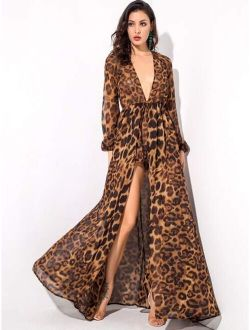 LOVE&LEMONADE Leopard Print Plunge Neck Maxi Jumpsuit