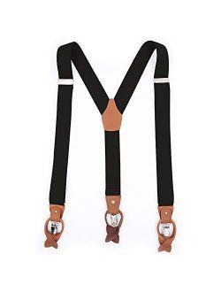 RIONA Men's Y-Shaped Heavy Duty Suspenders Strong Clips & Leather Button End High Elastic Straps Soild Dress Braces