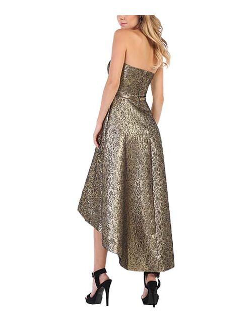 Bronze Brocade Hi-Low Gown - Women