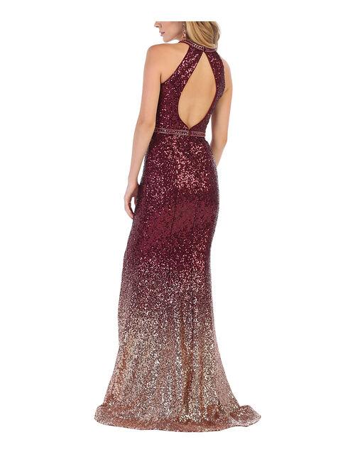 Burgundy Ombré Glitter Open-Back Halter Trumpet Gown - Women