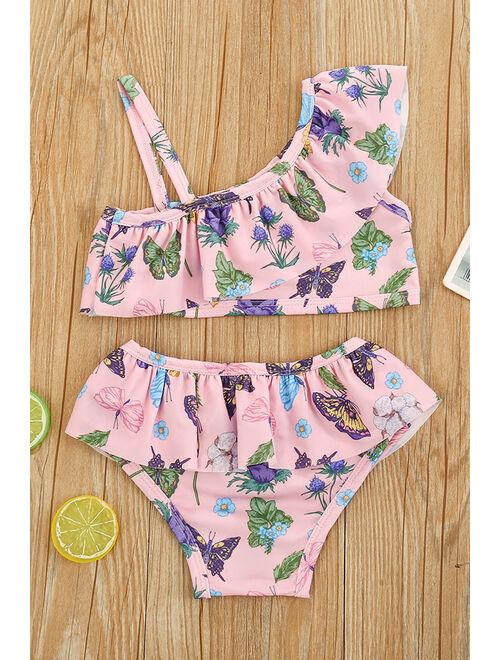 Baby Girls Casual Summer Season Printed Pattern Two Piece Swimwear
