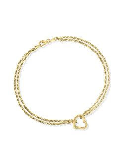 14kt Yellow Gold 2-strand Heart Center Anklet. 10 Inches