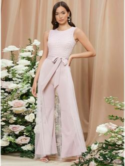Lace Bodice Belted Mesh Overlay Jumpsuit