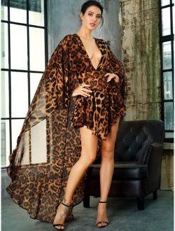 LOVE&LEMONADE Leopard Print Plunge Neck Cape Romper