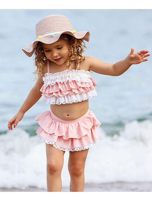 Cream & Pink Eyelet Ruffle-Accent Bikini - Girls