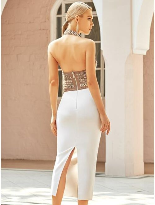 Shein ADYCE Pearl Beaded Bandage Dress