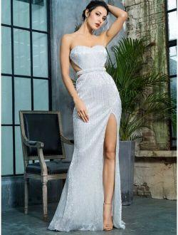 LOVE&LEMONADE Backless Split Thigh Sequin Tube Prom Dress