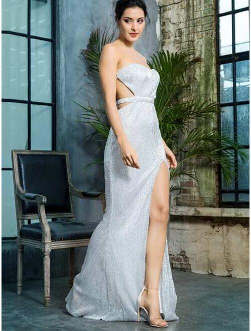 Shein LOVE&LEMONADE Backless Split Thigh Sequin Tube Prom Dress