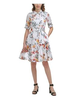 Floral-Print Tiered Belted Dress