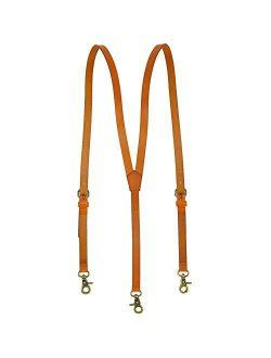 Men's Brown Shiny Genuine Leather Suspenders, Steampunk Style Y back Adjustable Belt Loop, 3 Snap Hooks