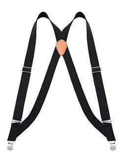 "Buyless Fashion Trucker Suspenders for Men - 48"" Elastic Adjustable Straps 1 1/4"" - X Back"