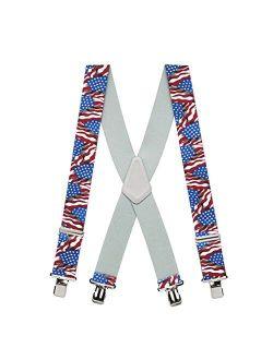 SuspenderStore Men's American Flag Suspenders - 2-Inch Wide, Nickel Clip