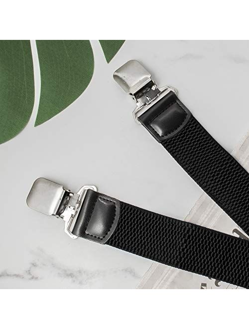 """Buyless Fashion Textured Suspenders for Men - 48"""" Adjustable Straps 1 1/2"""" - X Back with Metal Clips"""