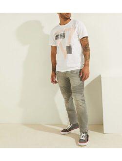 Men's Slim Tapered Pintuck Moto Jeans
