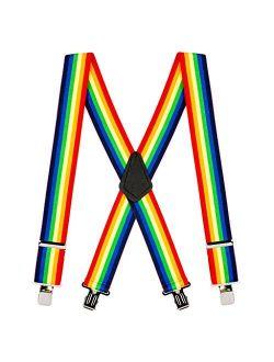 SuspenderStore Men's 2-Inch Rainbow Suspenders