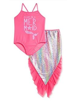 Mermaid BB Pink One-Piece Swimsuit & Mermaid Tail Coverup 2 Piece Set