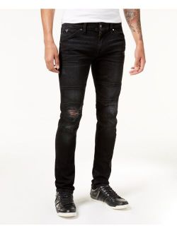 Men's Slim-Fit Tapered Stretch Ripped Moto Jeans
