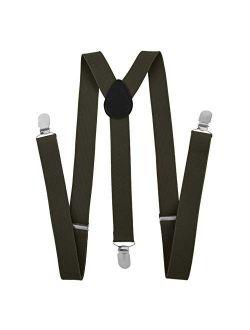 TopTie Unisex Suspenders Solid Color Y-Back Clip Suspender - 1 Inch Wide
