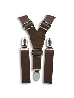 London Jae Apparel Brown Suspenders for Men (Weathered coffee,silver clip)